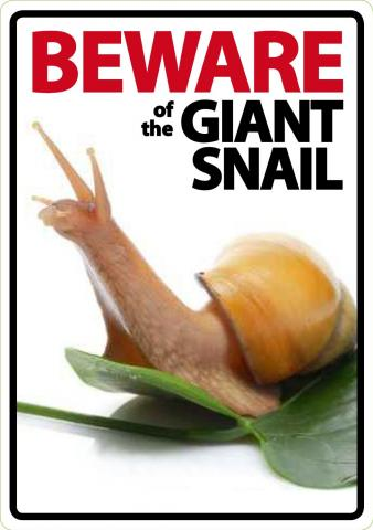 Beware of the Giant Land Snail Sign