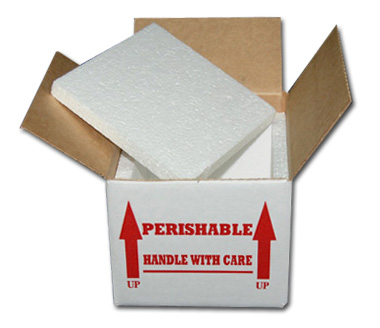 "6 x 6 x 4"" Styrofoam Lined Shipping Boxes"
