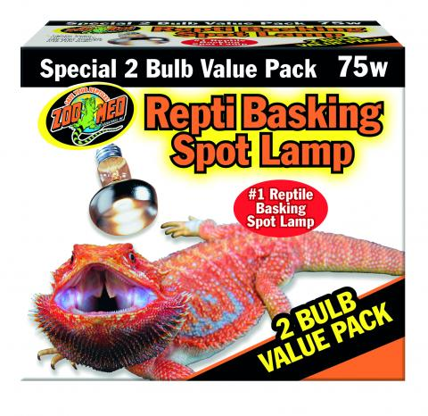 2-Pack Zoo Med 75 Watt Basking Bulbs