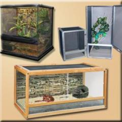 We stock a wide variety of reptile cages including screen, custom wood vivariums with stands, natural glass terrariums, tortoise houses, glass reptile terrariums and many more!